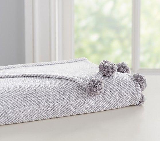 2c493620d Organic Herringbone Pom-Pom Baby Blanket in 2019 | Baby: Boy Rooms ...