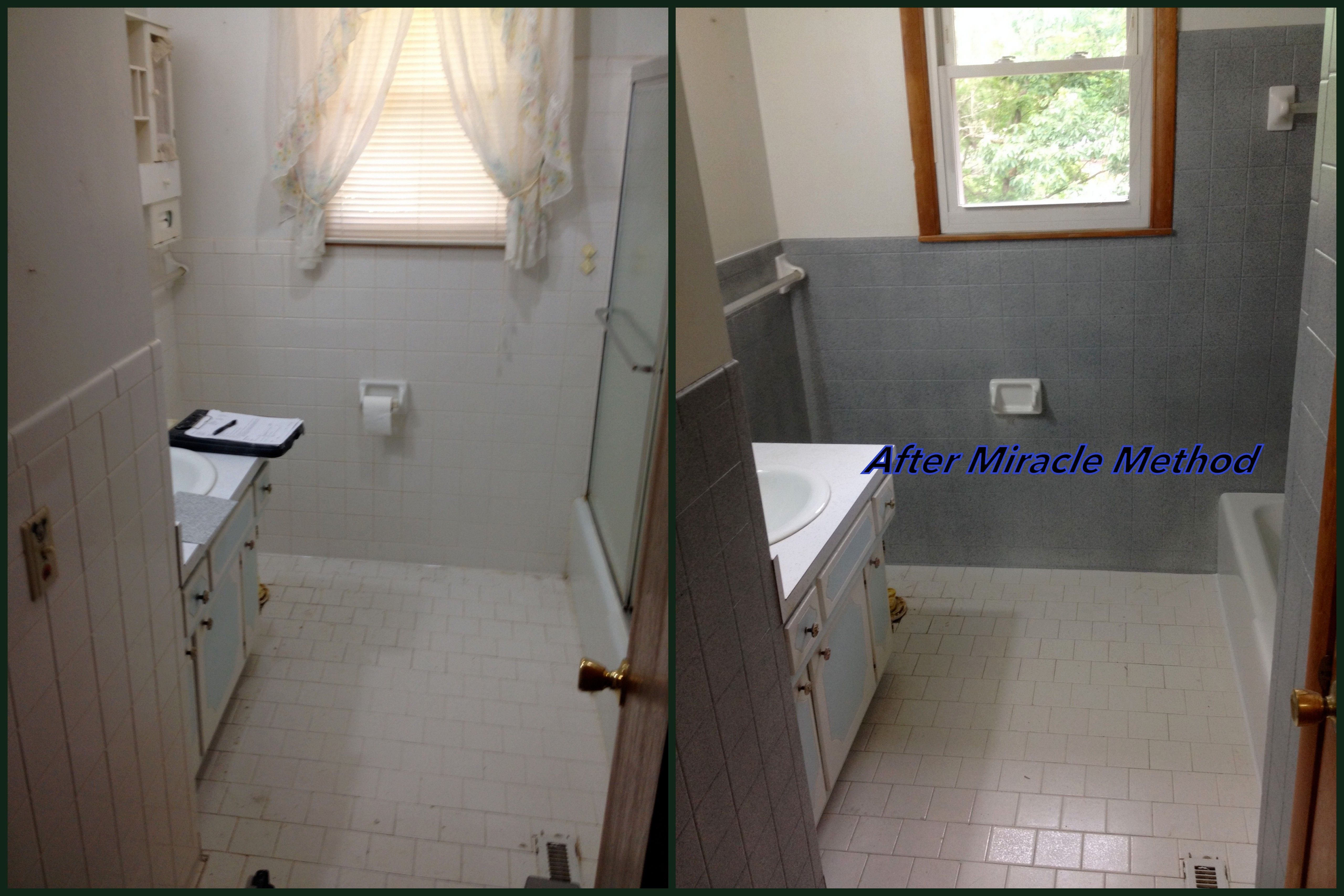 Bathroom Wall Refinished In Summit Grey By Miracle Method