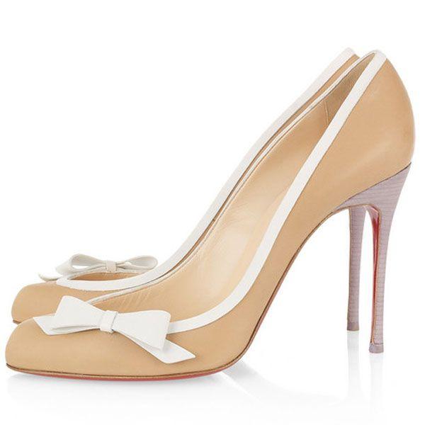 Christian Louboutin Beauty 100 Leather Pumps Beige. High Heels