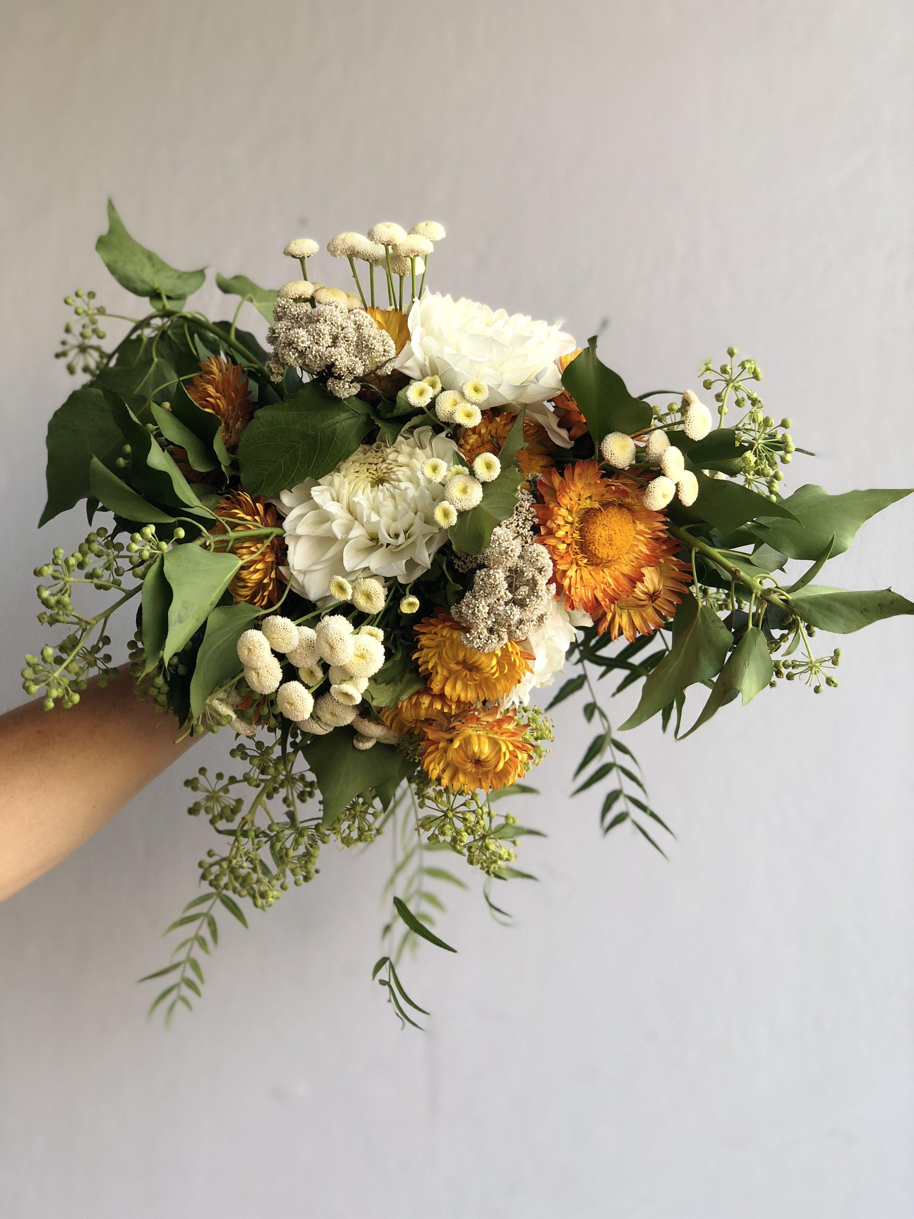 Mustard wedding colour scheme Surrey florist Rustic