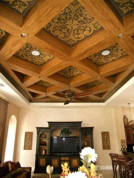 Diagonal Coffered Ceiling With Stenciled Pattern Lynn Stencil