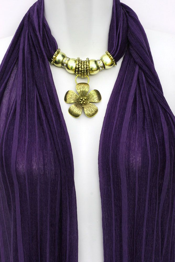Beaded Scarf With Charms Pendant Scarves Purple Scarf ...