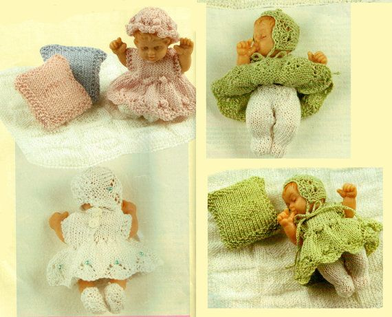 Pdf Vintage Teddy Doll Clothes Knitting Pattern Toy Premature Baby