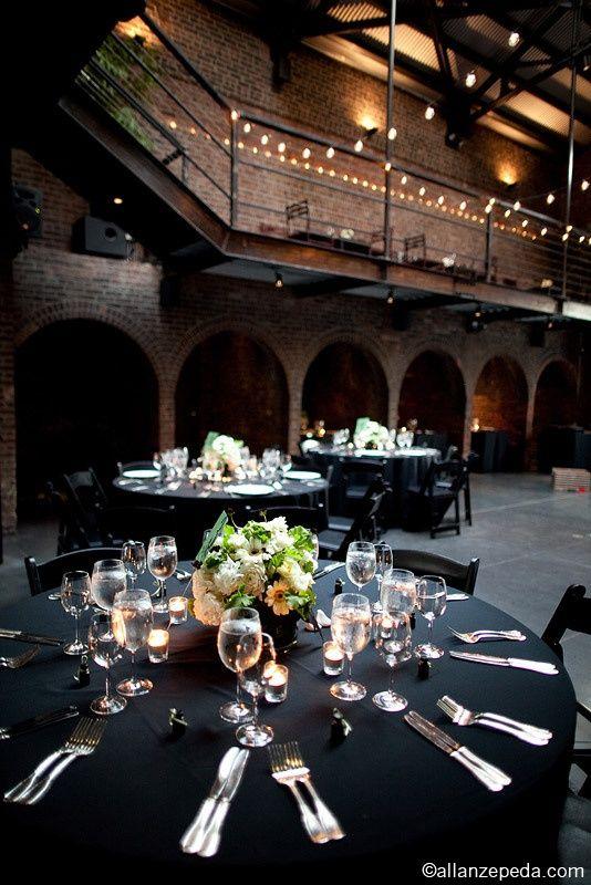 New York City Wedding By Allan Zepeda Industrial Wedding Urban Wedding Black Tablecloth