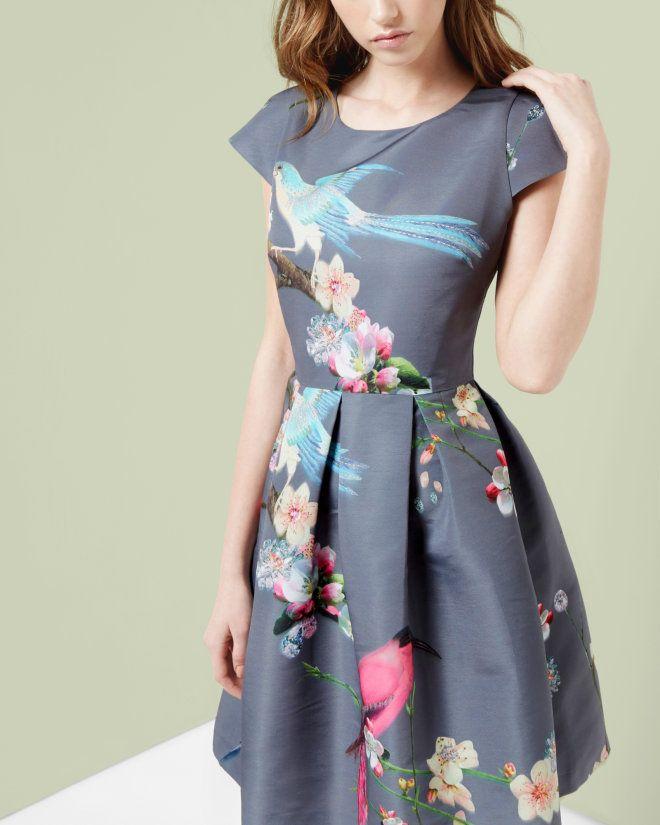 Flight of the Orient print dress - Light Grey   Dresses   Ted Baker ...