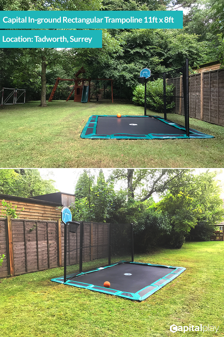 We Installed This 14x10ft Capital Inground Trampoline In Tadworth Surrey This Customer Went For In Ground Trampoline Backyard Playground Backyard Trampoline