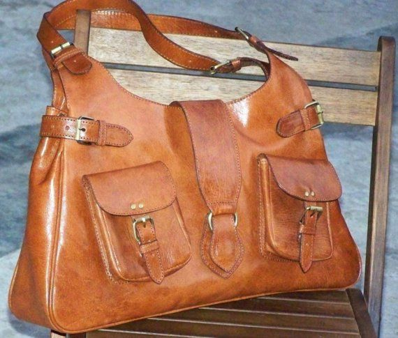 Tan Leather Handbag Tote Shoulder Bag Amy