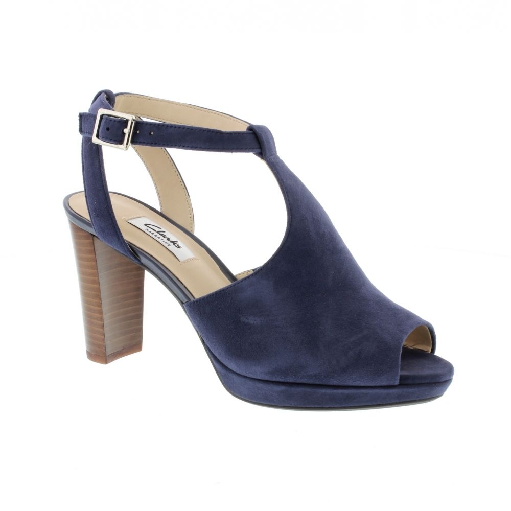 59b2e4fd30e Clarks Kendra Charm - Navy Suede - Heels from Bells Shoes UK