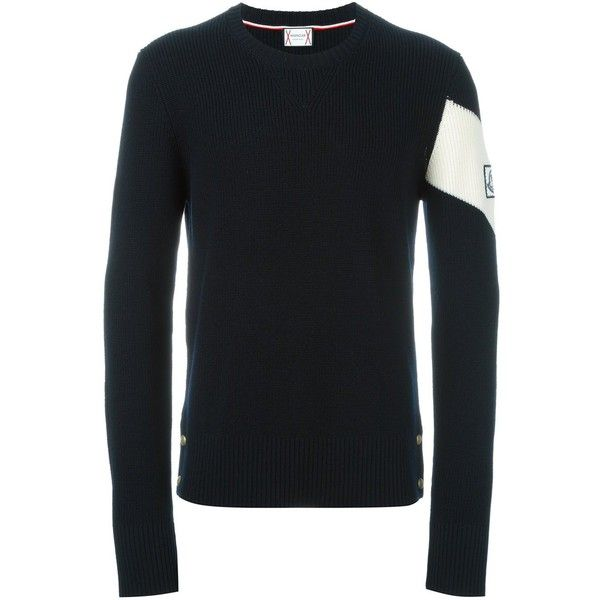 Moncler Gamme Bleu contrast stripe jumper (7495 MAD) ❤ liked on Polyvore featuring men's