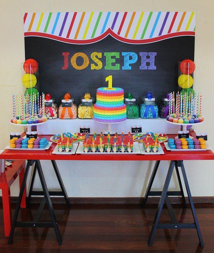 Rainbow Themed 1st Birthday Party Via Karas Party Ideas Cakes