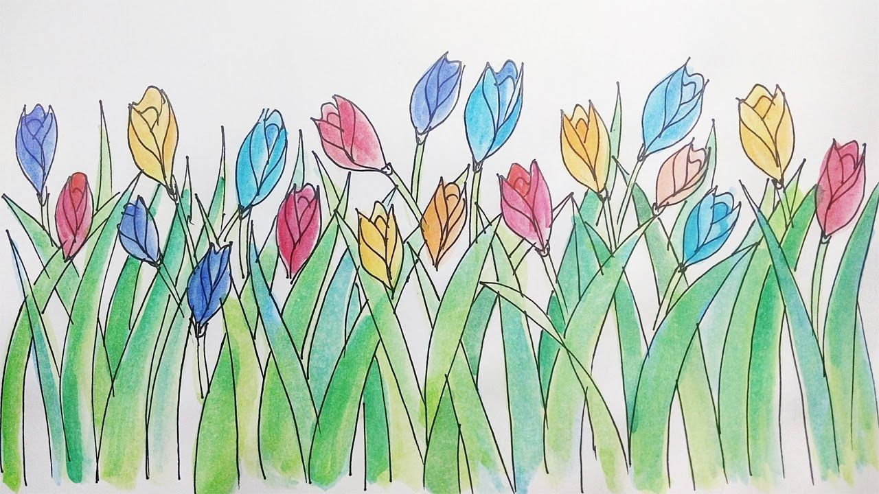 Menggambar Bunga Tulip Sederhana Dan Mudah Learning To Draw Tulips Is Si Bunga Tulip Gambar Bunga