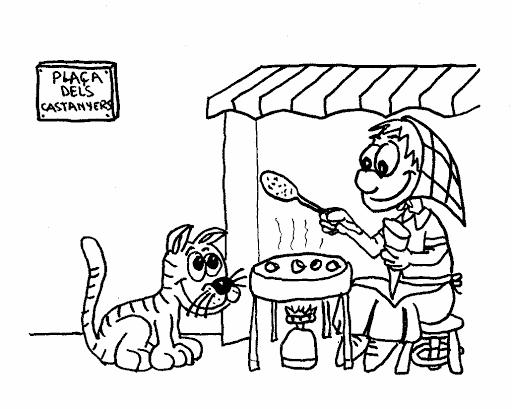 Dibujos De Castanas Para Colorear E Imprimir: Dibujo Para Colorear La Castañera