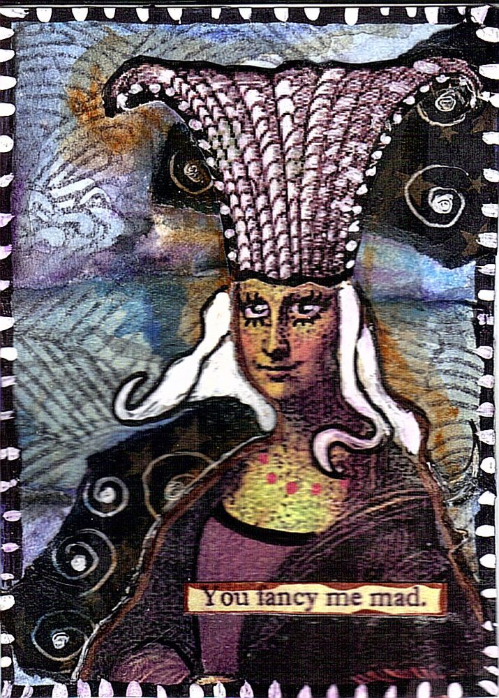 FANCY MAD Original Art Mixed Media Collage ACEO vintage Venecia Outsider  #OutsiderArt $5.99