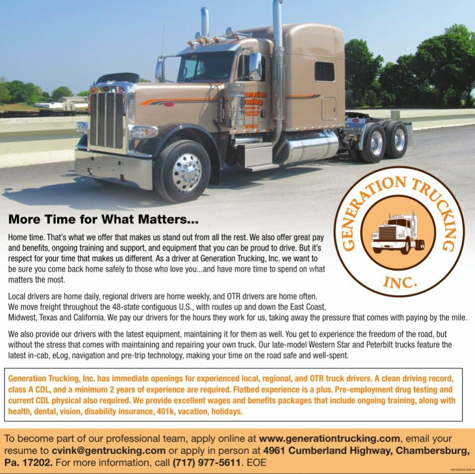 Recruitment Ad Generation Trucking Inc Chambersburg Pa Copy