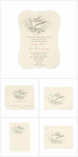 Vintage Flourish Dove Love Bird or Rustic Dove Wedding Invitation