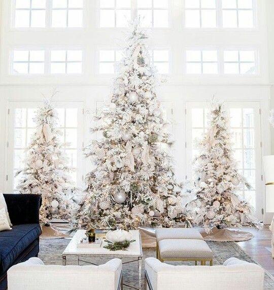 All white Christmas trees Let\u0027s stay home Pinterest Christmas