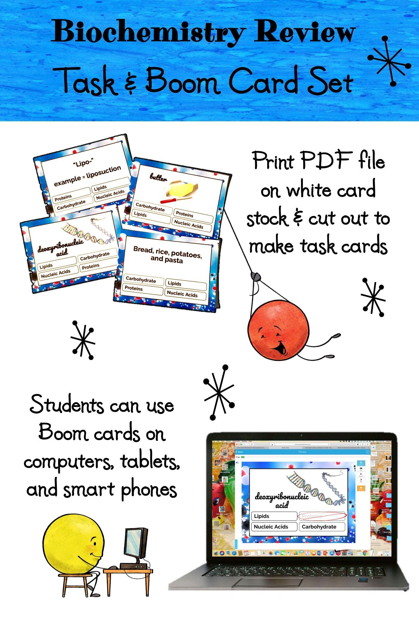 Biochemistry Review Task Cards With Digital Boom Cards