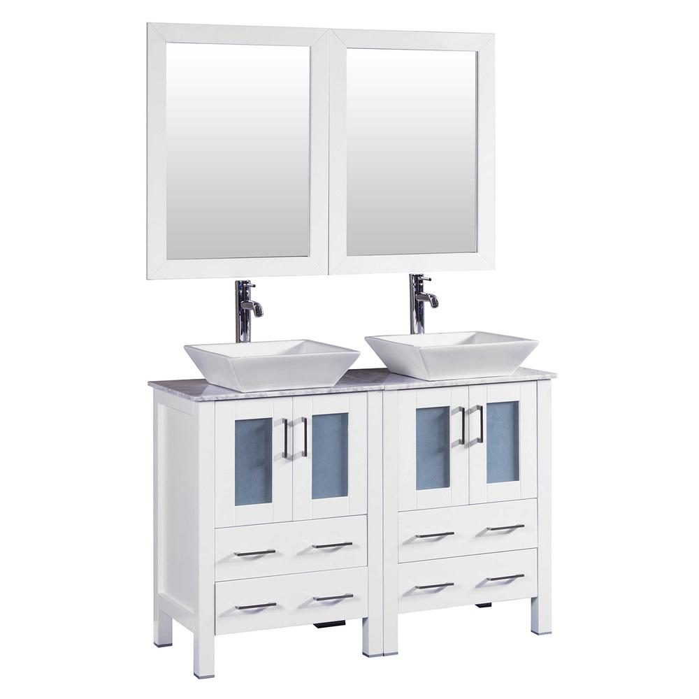 Bosconi 48 In W Double Bath Vanity In White With Carrara Marble