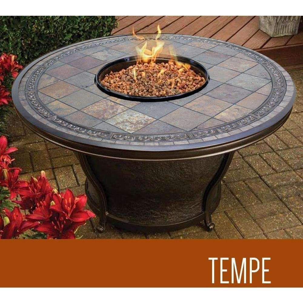 Tempe - 48 Inch Round Slate Top Gas Fire Pit Table - Tempe - 48 Inch Round Slate Top Gas Fire Pit Table Products