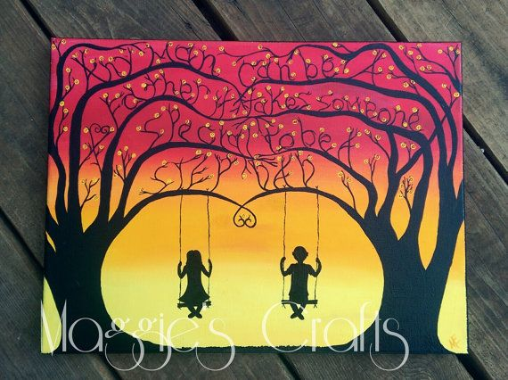 Step Dad Quote Canvas Painting Silhouette Children Swinging Gift Idea Wall Art Home Decor