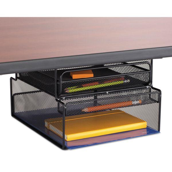 Safco Onyx Hanging Organizer W Drawer Under Desk Mount 12 1 3 X 10 X 7 1 4 Black Hanging File Organizer Under Desk Storage Hanging Storage