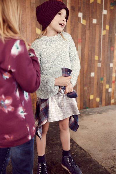 -KIDS-LOOKBOOK | ZARA France☆ jupe métalisée et bonnet&sweat shirt fleurs
