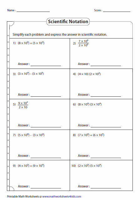 Scientific Notation Worksheets Scientific Notation Scientific Notation Worksheet Scientific Notation Operations