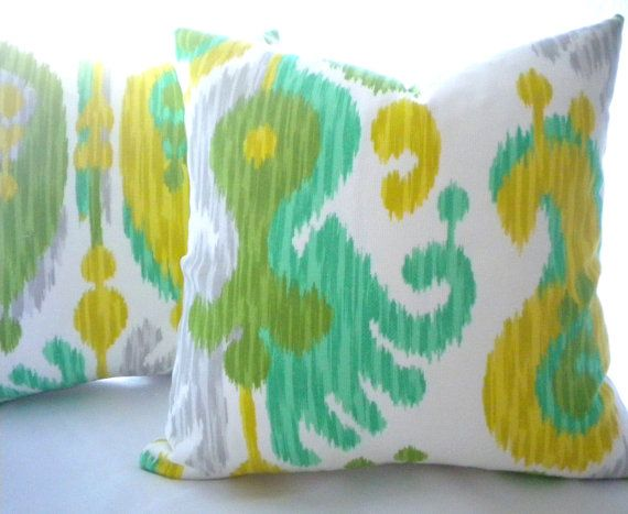 Green Ikat Indoor Outdoor Fabric, Indoor/outdoor pillow cover in green ikat, many sizes available