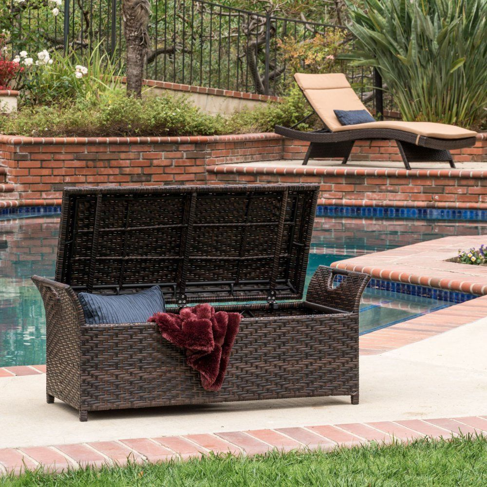 deck storage bench outdoor wicker patio box rattan pool container