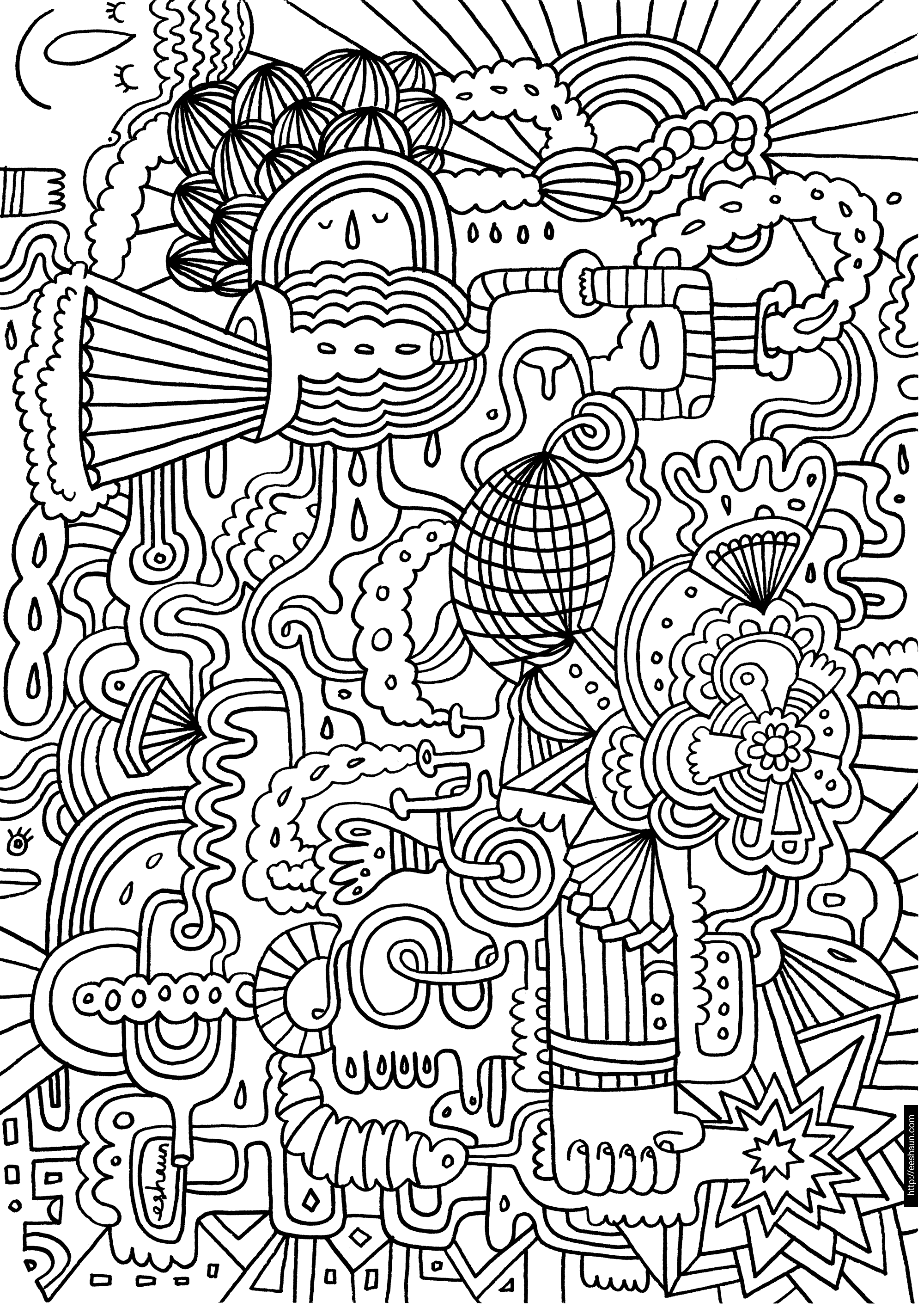 funky pipes coloring page | art docs, handouts, and printables ...