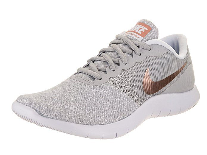 b542d27e713e NIKE Women s Flex Contact Running Shoe Wolf Grey Metallic Rose Gold (8 B(M)  US)