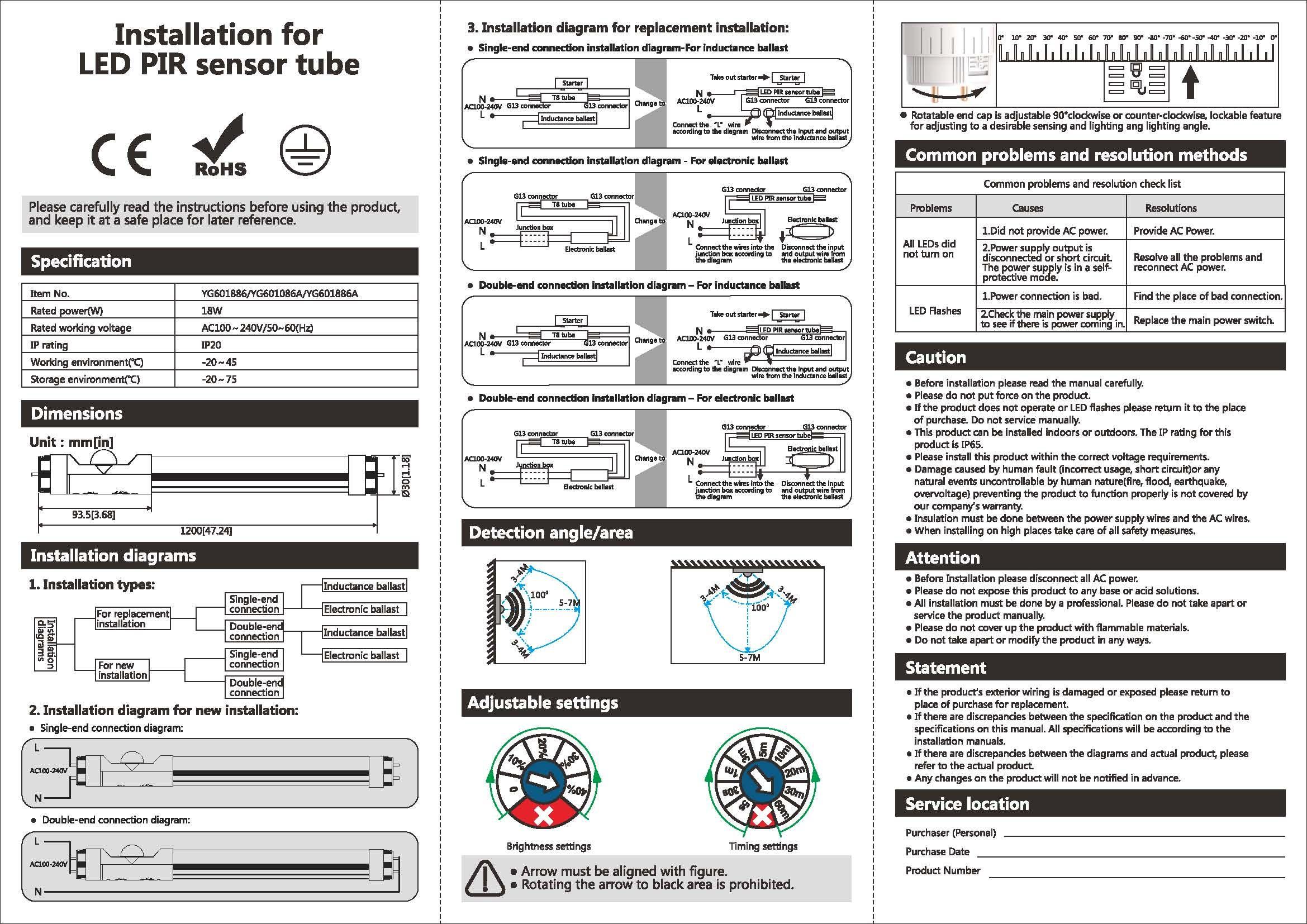 The New Tforceled Smart Pir Motion Sensor T8 Fluorescent Tube Led Light Fixture Wiring Diagrams Instruction Manual For