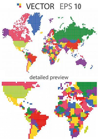 World map pixel vector ea vector pinterest world map pixel vector gumiabroncs Image collections