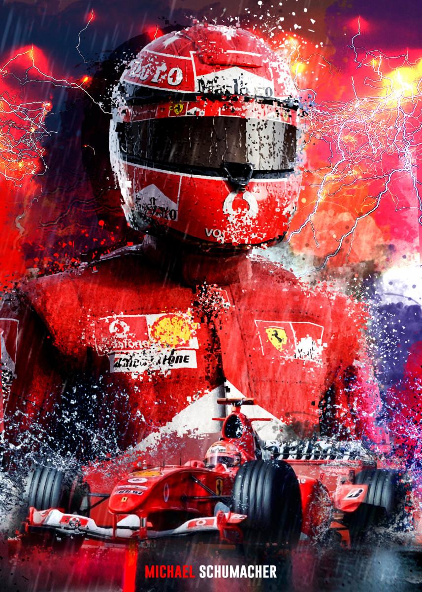 Michael Schumacher F1 Metal Poster Print Micho Abstract Displate In 2020 Michael Schumacher Poster Prints Metal Posters