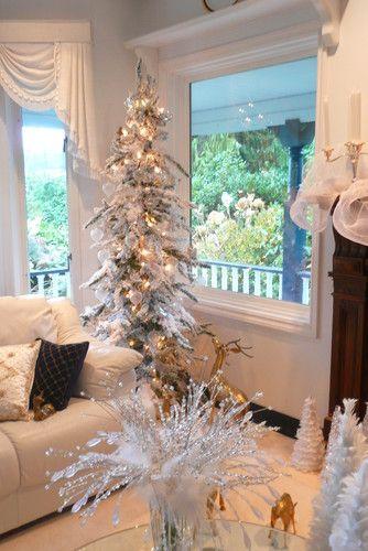 Frenchflair Traditional Living Room Vancouver Michelle Small White Christmas Tree Christmas Decorations Living Room Bohemian Christmas