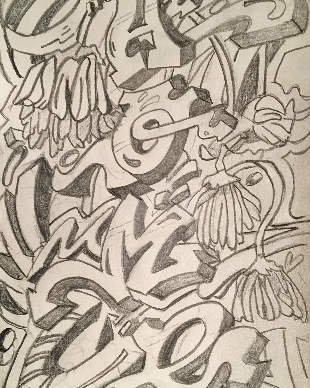 Sketch for my first graffiti attempt. Prepping the surface today.  Great to be thinking differently.