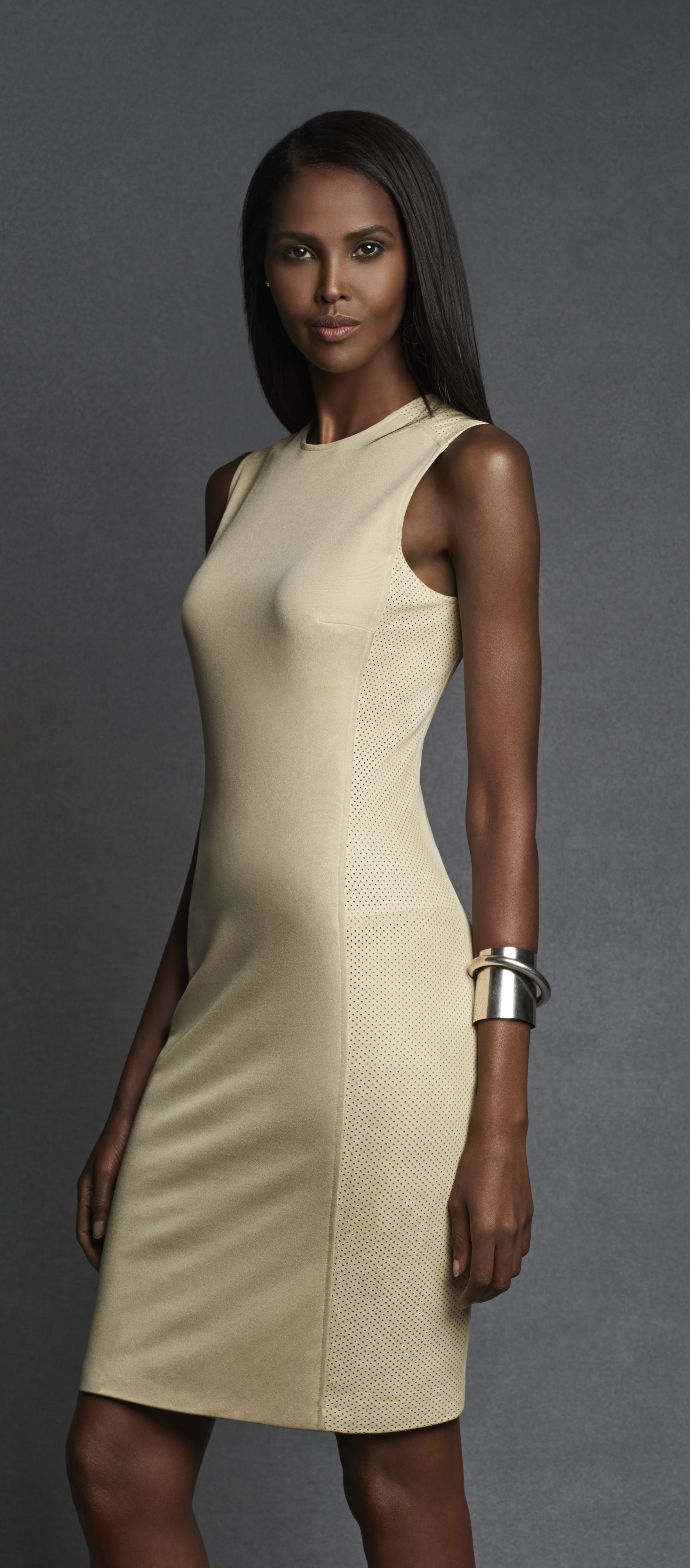 Ralph Lauren Black Label: Our modern suede Taryn dress is crafted from luxe body-skimming jersey and features a supple perforated suede panel at each shoulder and along each side