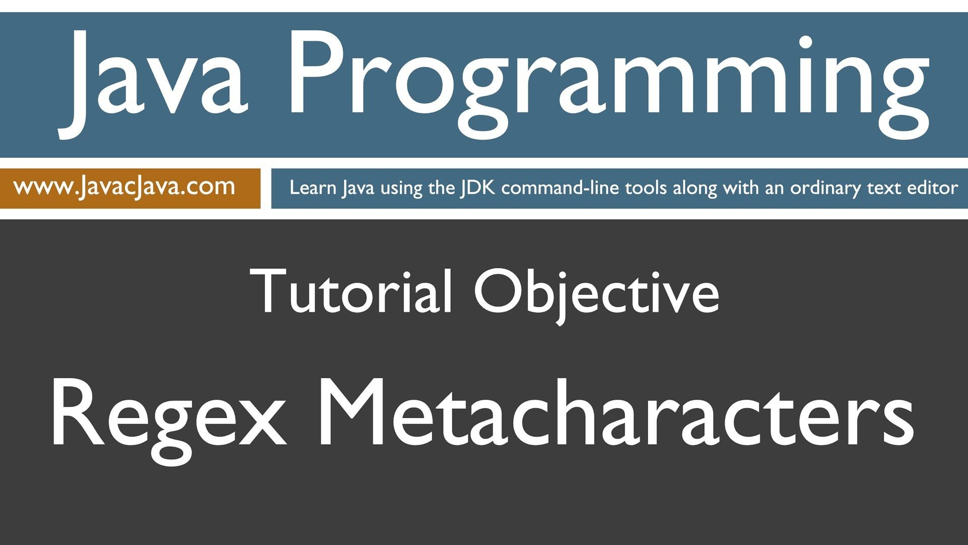 Learn Java Programming Regex Metacharacters Tutorial