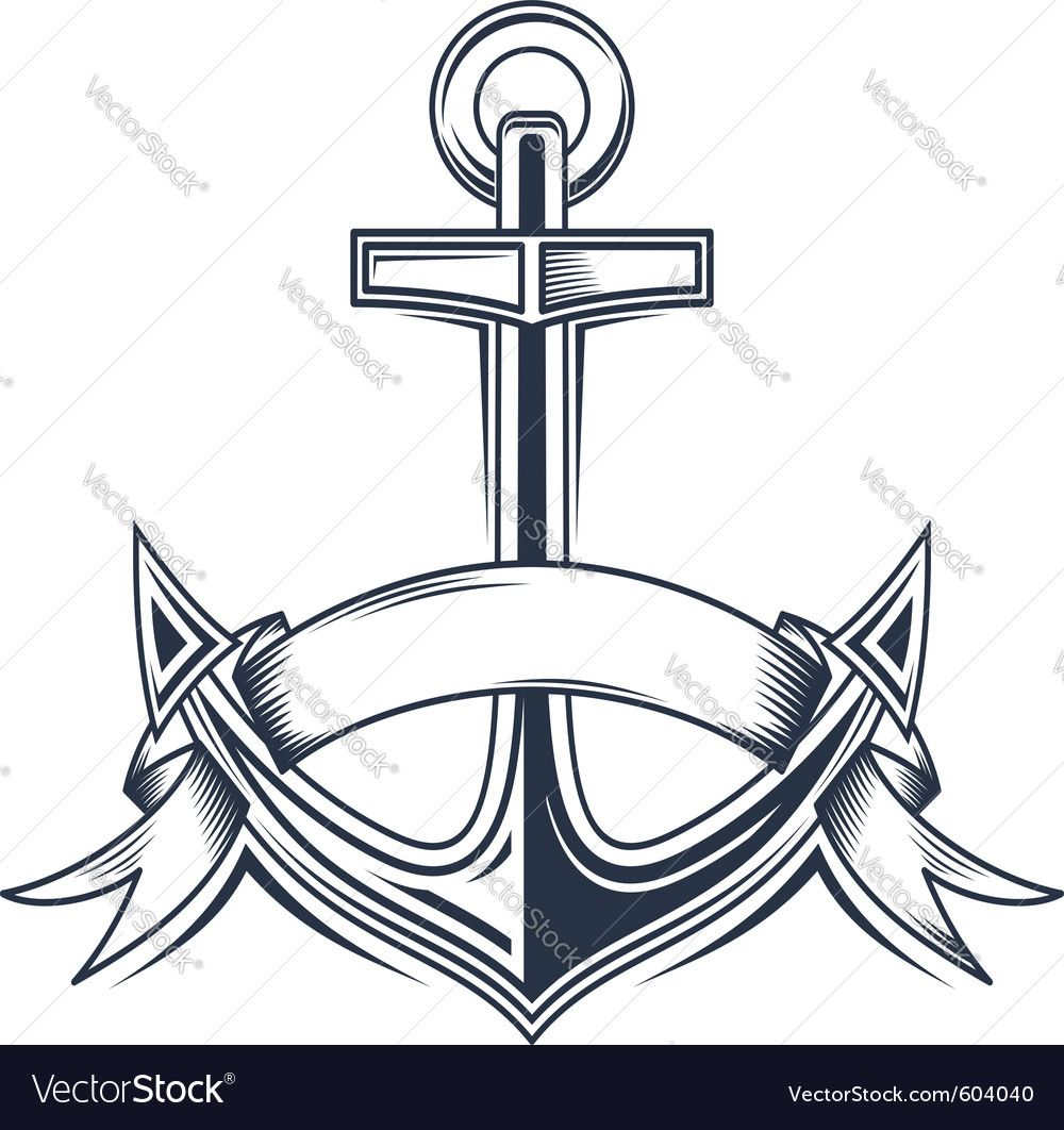 Vintage Anchor Vector Image On Vectorstock Anchor Clip Art Coloring Pages Anchor Drawings