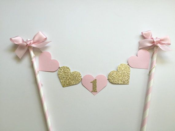 1st Birthday Cake Banner With Pink And Gold Hearts One Shabby Chic S