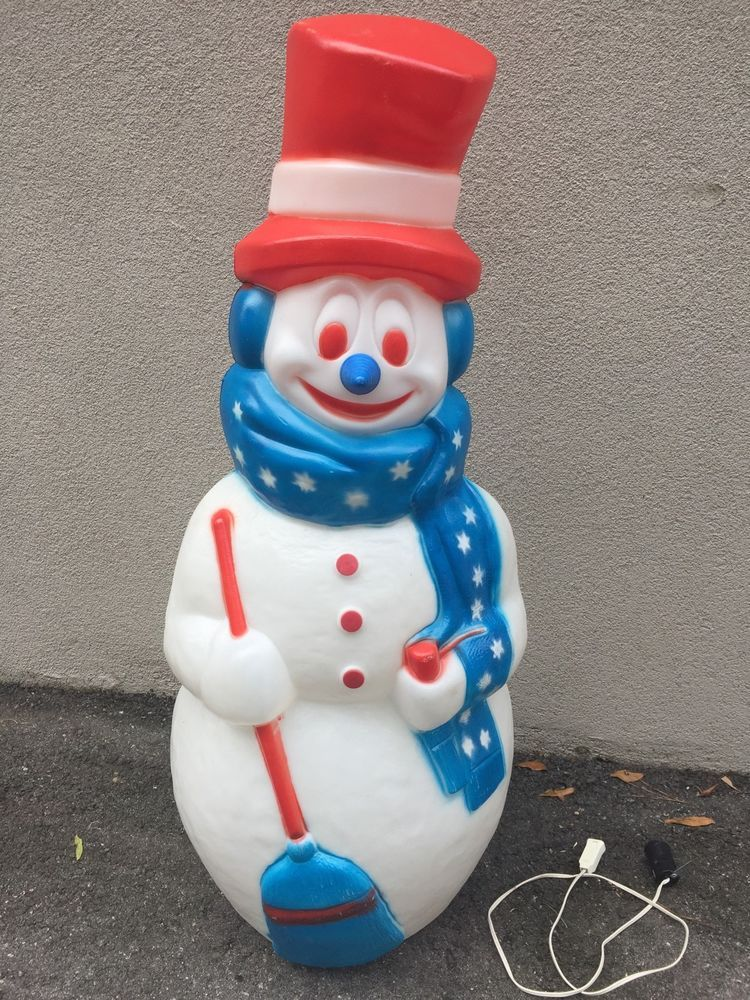 Vtg 42 Quot 4th Of July Patriotic Red White Blue Snowman