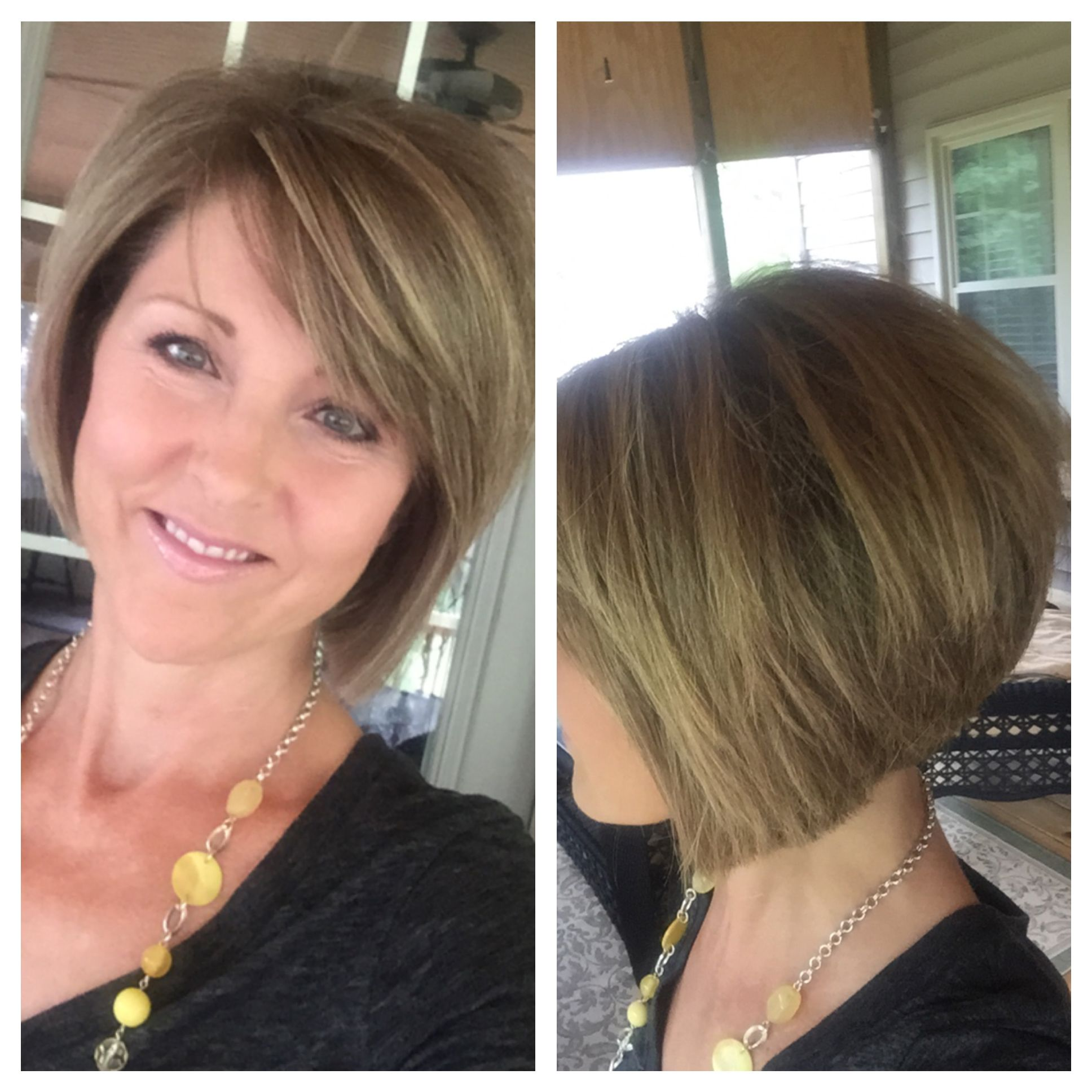 short layered bob hairstyle. stacked back. angled sides
