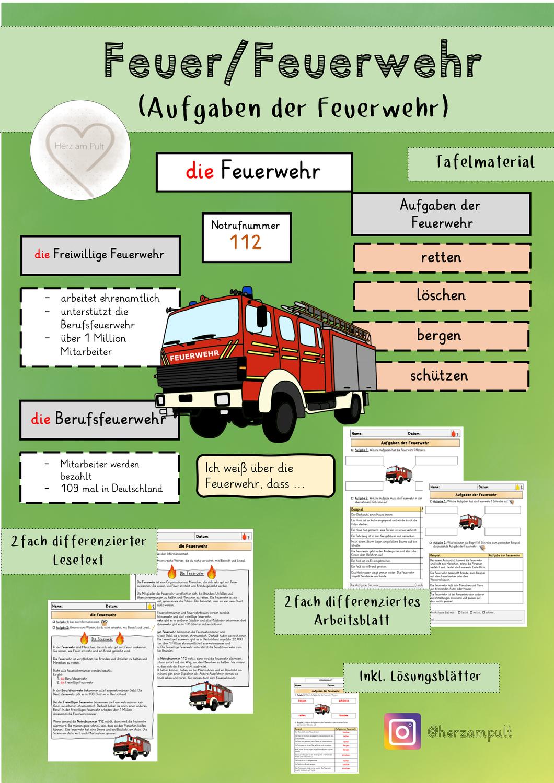 Feuer   Aufgaben der Feuerwehr 20. Stunde – Unterrichtsmaterial ...