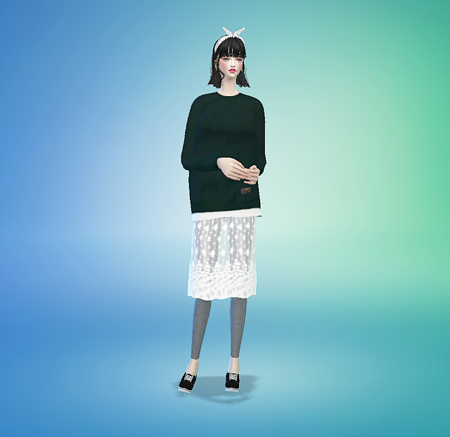 SIMS4 marigold: lace h-line skirt with leggings_ lace skirt leggings women's clothing _