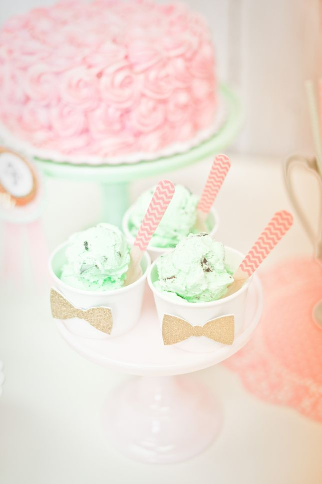 Ice Cream cups with wooden spoons and bow ties