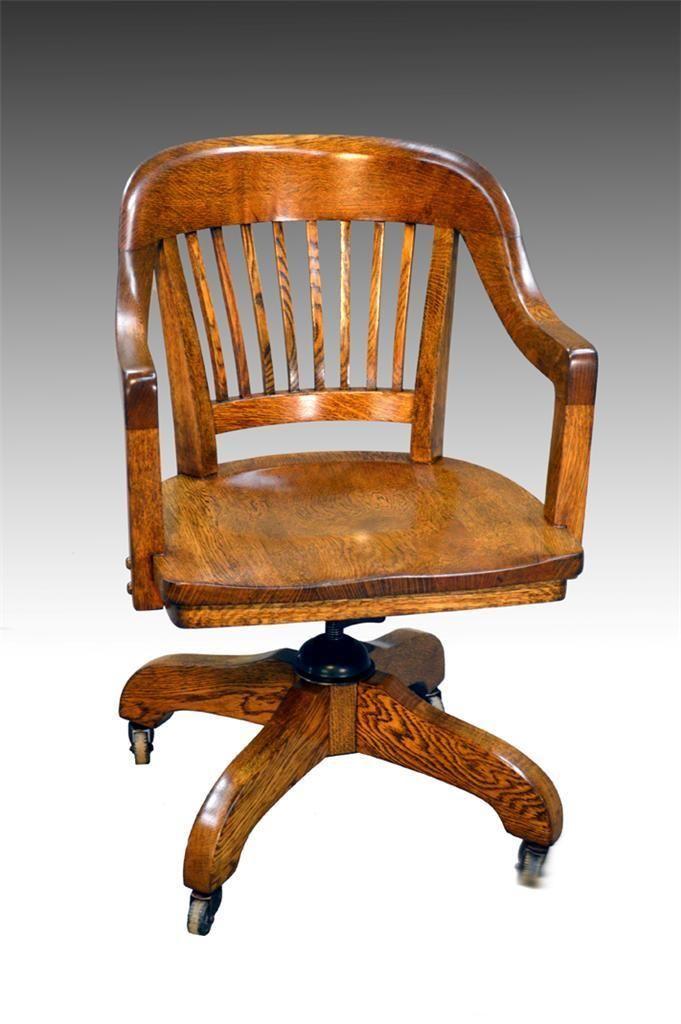 16608 Oak Lawyers Banker Quarter Sawn Swivel Office Chair Ebay