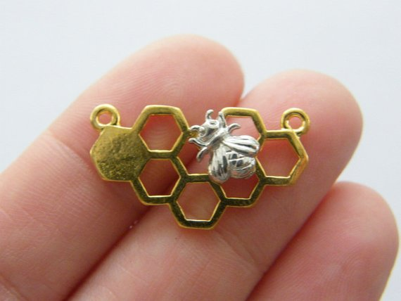4 x Honeycomb Bee Charm Pendant connectors for jewellery necklace bracelet 25mm