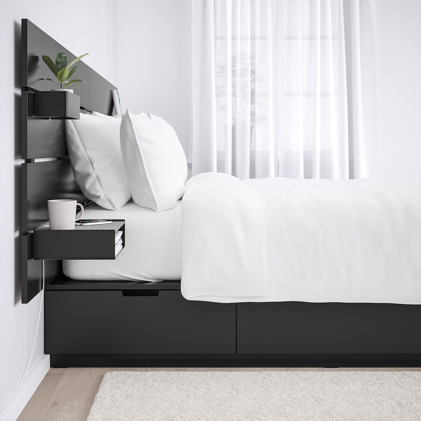 Nordli Bed With Headboard And Storage Anthracite Queen Ikea In 2020 Headboards For Beds Headboard Storage Bed Frame With Storage