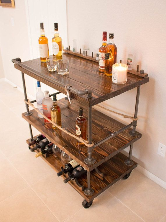 This Beautiful Handmade Solid Wood And Steel Bar Cart Is The Furniture Piece That