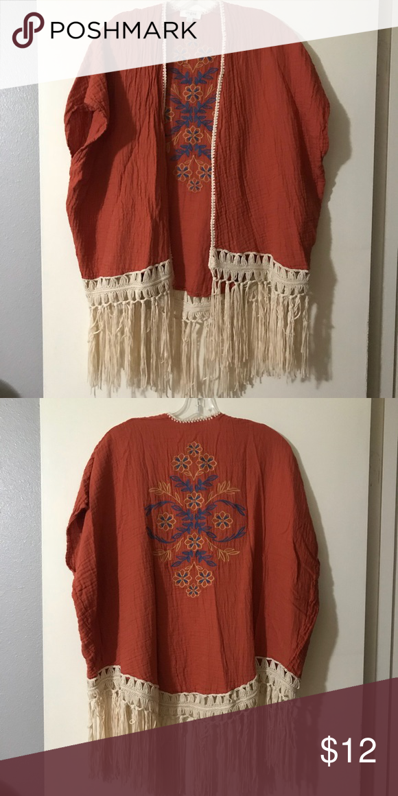Kimono style top size s m Burnt orange and cream w multi colored embroidery  kimono style top. Brand is Umgee size small medium Umgee Tops 00eb08f41
